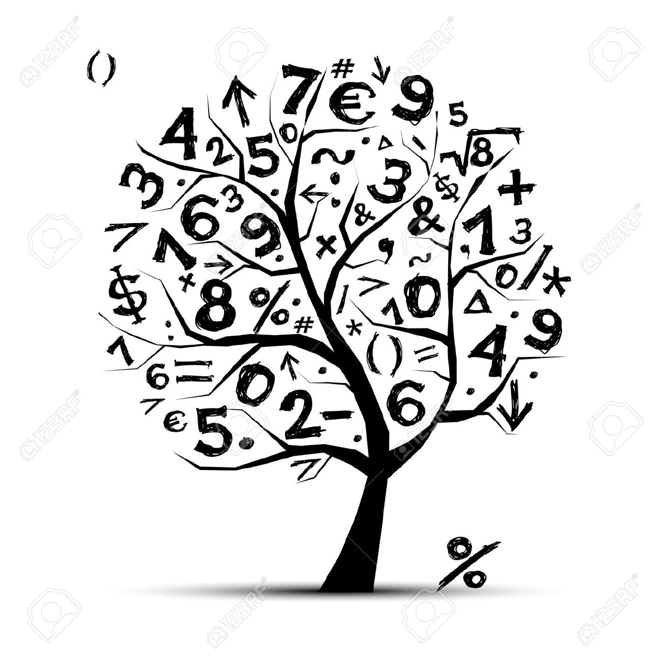 11264060 Art Tree With Math Symbols For Your Design Stock Vector