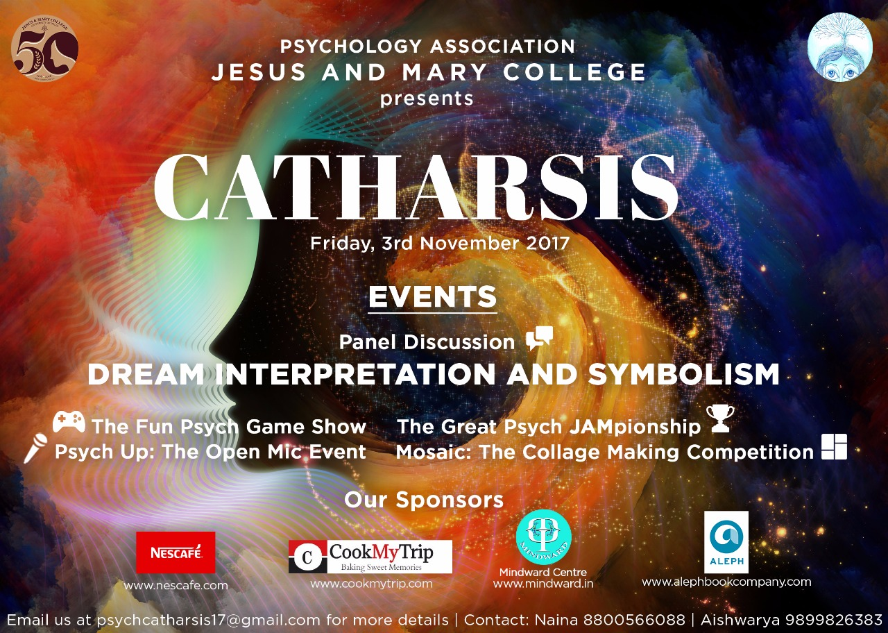 Jesus and Mary College's Psychology Fest CATHARSIS 2017 [Delhi, Nov 3]: Registrations Open