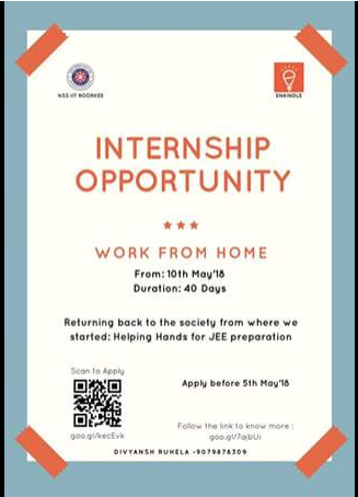Internship opportunity nss iit roorkee may 10 june 20 work from in a first of its kind initiative nss iit roorkee brings to the young minds of our country an opportunity to do a social internship under the banner of nss altavistaventures Gallery