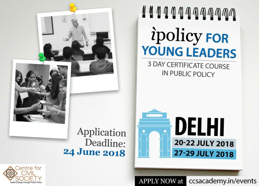 iPolicy for Young Leaders: Certificate Course in Public Policy [July 20-22 & July 27-29, Delhi]: Register by June 24