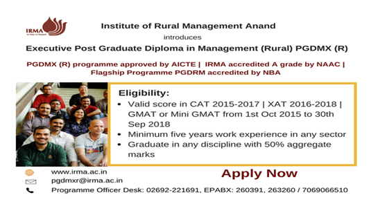 Executive PG Diploma in Management (Rural) @ Institute of Rural Management Anand: Apply by Oct 15