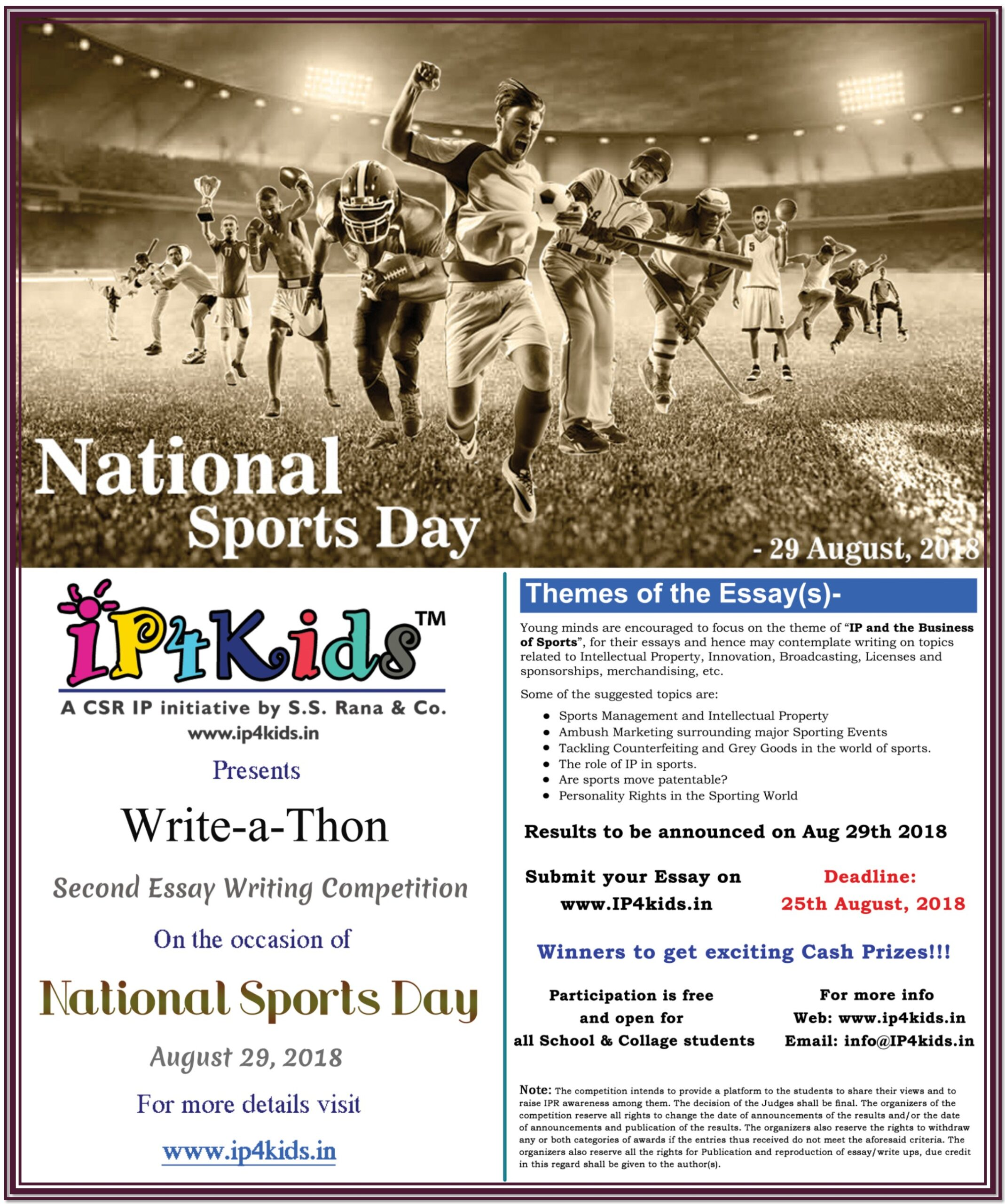 2nd Write-a-Thon Essay Writing Competition on IP in the field of Sports [Prizes Worth Rs. 19K]: Submit by Aug 25