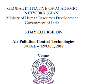 Course on Air Pollution Control Technologies @ JNTUH College of Engineering, Hyderabad [Oct 8-12]: Registrations open