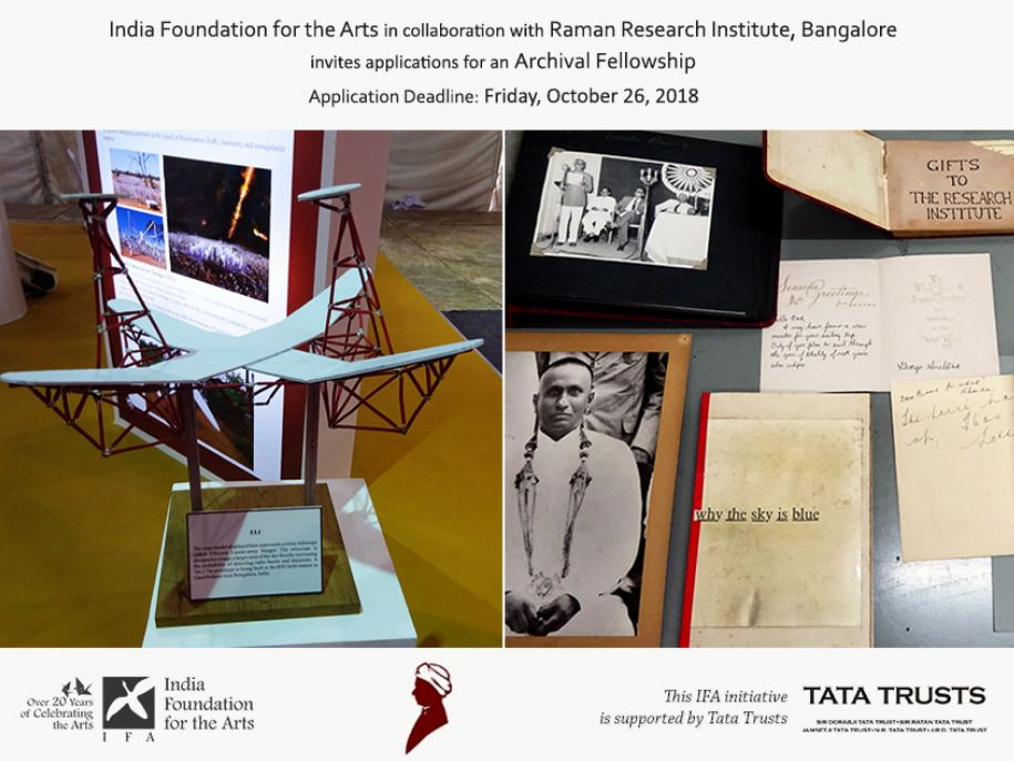 Archival Fellowship by India Foundation for the Arts & Raman Research Institute [Fellowship Amount Rs. 2 Lakh]: Apply by Oct 26