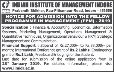 IIM Indore Fellowship in management 2019