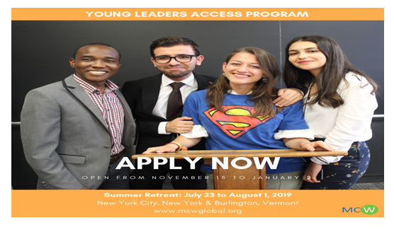Fully Funded 2019 MCW Young Leaders Access Program in USA: Apply by Jan 2