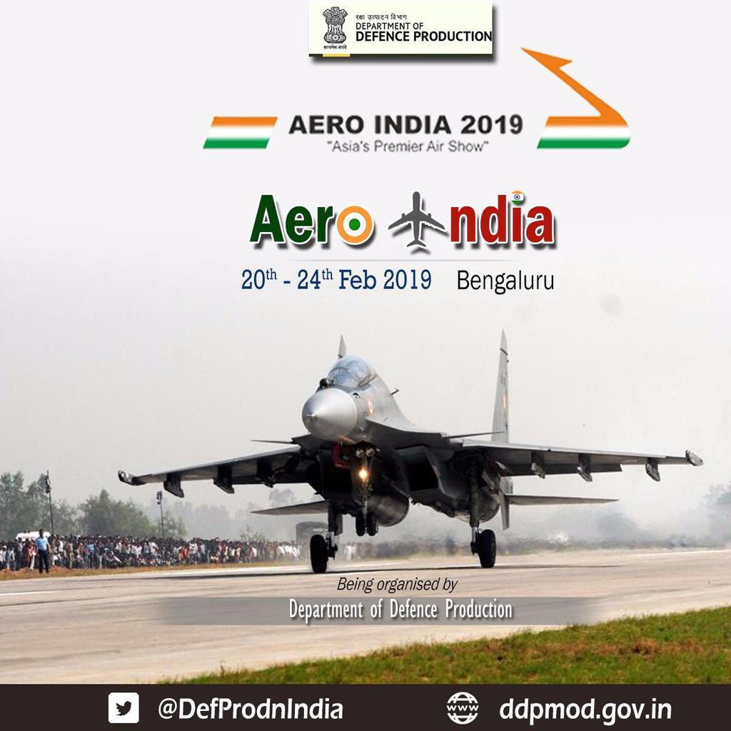 CFP: Aero India-2019, Defense Exhibition by Ministry of Defense [Feb 20-24]: Submit by Jan 7