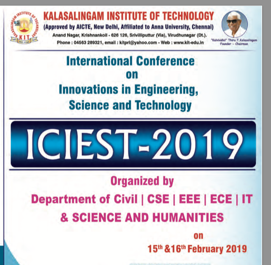 CfP: International Conference on Innovations in Engineering, Science & Technology @ Kalasalingam Institute of Technology [Tamil Nadu,  Feb 15-16]: Submit by Jan 19