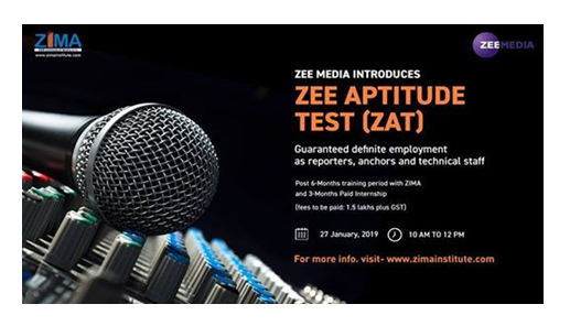 Zee Aptitude Test for Journalism Course [Training Includes 3 months Paid Internship, Test on Jan 27]: Applications Open