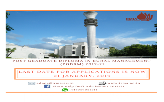 PG Diploma in Rural Management @ Institute of Rural Management Anand: Apply by Jan 21