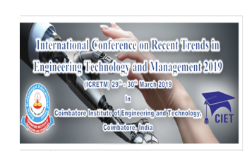 CfP: Conference on Recent Trends in Engineering Technology & Management @ Coimbatore Institute [TN, Mar 29-30]: Submit by Mar 10