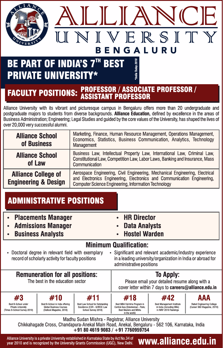 Alliance University Bangalore Faculty Jobs Noticebard