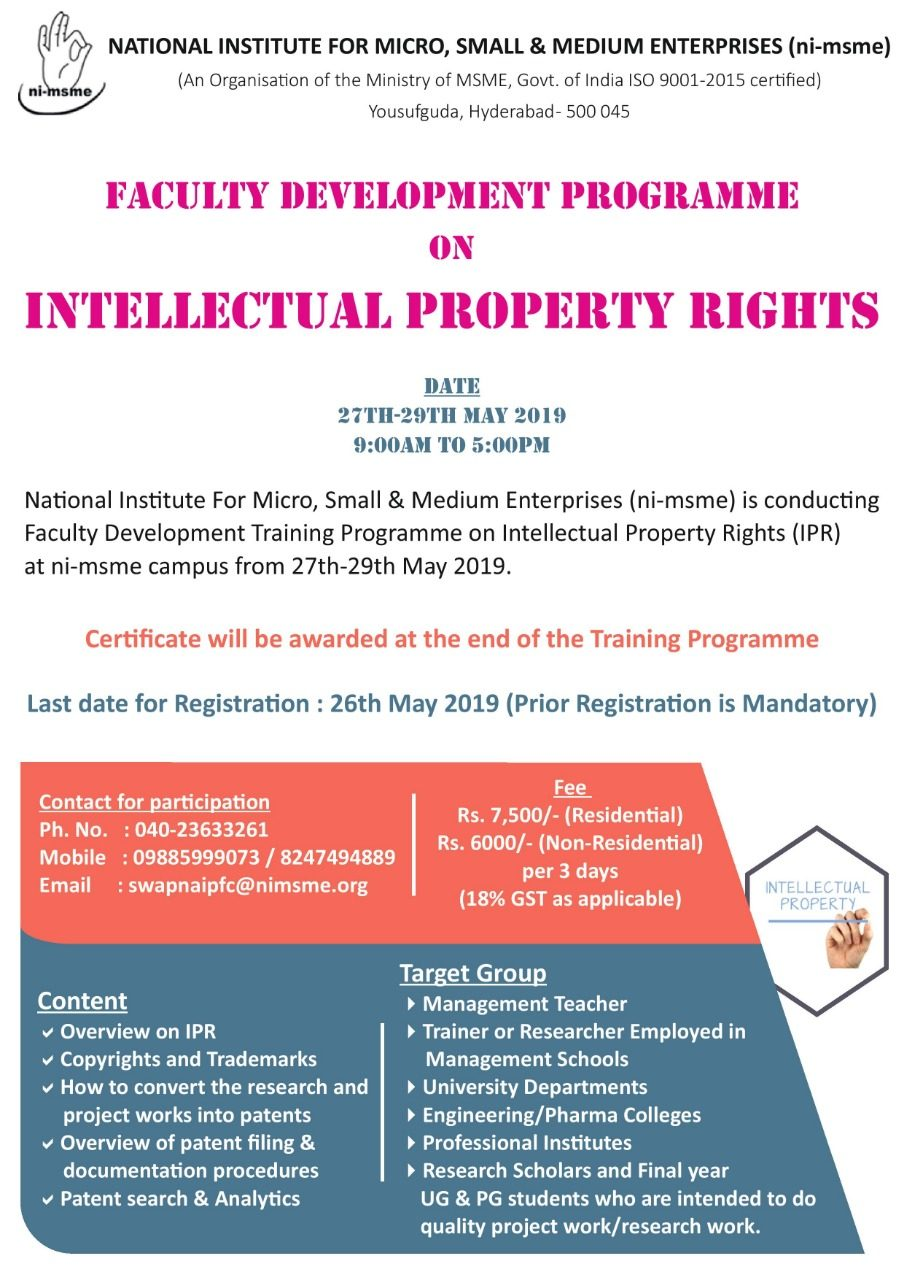 FDP Intellectual Property Rights Hyderabad