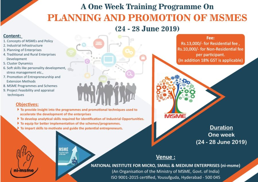 Training Programme on Planning and Promotion of MSMEs @ NI-MSME, Hyderabad [June 24-28]: Registrations Open