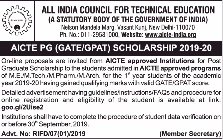 AICTE PG Scholarships 2019