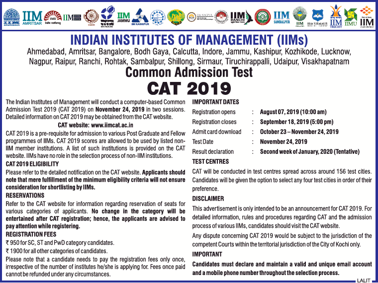 CAT 2019 Notification for Admissions to IIMs [Exam on Nov 24]: Register by Sep 18
