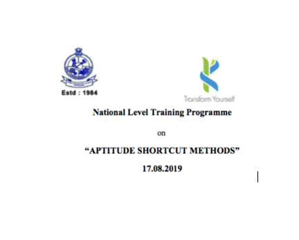 Training Programme on Aptitude Shortcut Methods @ Kongu Engineering College