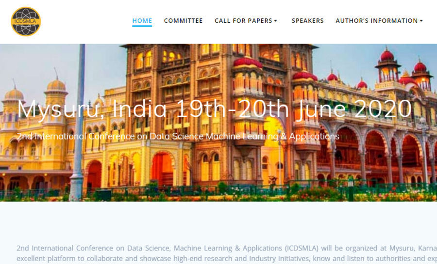 CfP: Conference on Data Science Machine Learning & Applications at Mysuru [Jun 19-20]: Submit by Jan 5: Expired
