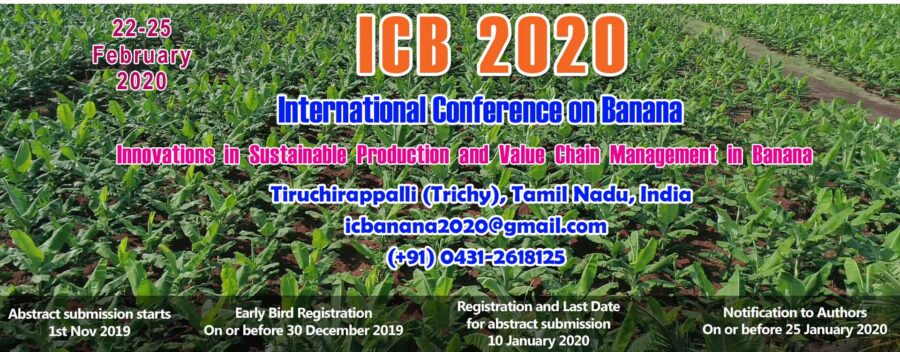 CfP: International Conference on Banana at ICAR-NRCB, Trichy [Feb 22-25]: Submit by Jan 10