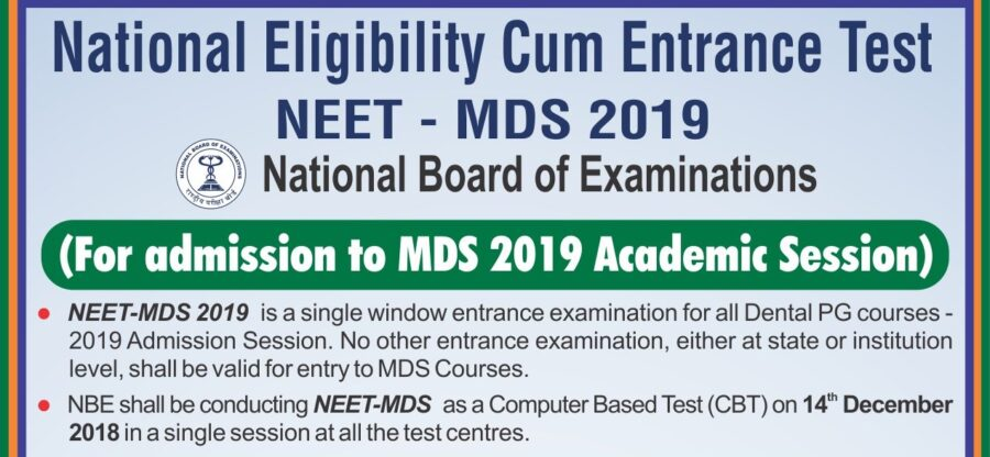 NEET MDS 2020 for Admission to PG Dental Surgery [Exam on Dec 20]: Register by Oct 31