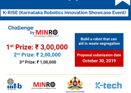 Call for Proposals: Karnataka Robotics Innovation Showcase Event at IIIT Banaglore [Prizes Upto Rs. 3L]: Submit by Oct 30