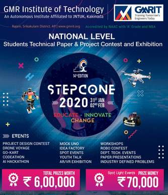 STEPCONE 2020: National Level Technical Paper & Project Contest at GMRIT, AP [Jan 31- Feb 2, 2020]: Register by Jan 30