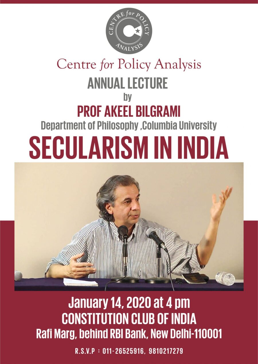 Lecture on Secularism in India by Centre for Policy Analysis, Delhi [Jan 14, 4 PM]: Invitation Open