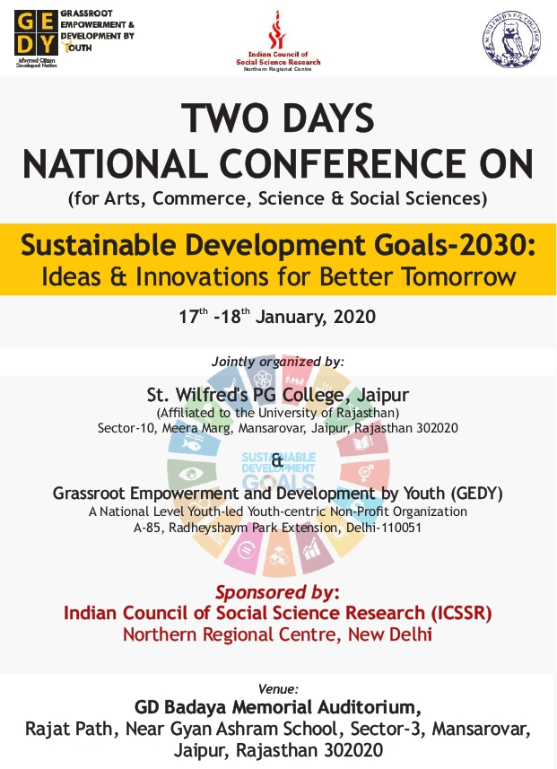 National Conference on Sustainable Development Goals-2030 at St. Wilfred's P.G. College, Jaipur[Jan 17-18]: Register by Jan 10