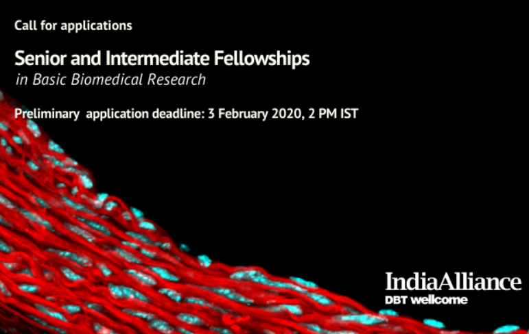 Wellcome Trust DBT India Alliance Senior and Intermediate Fellowships in Basic Biomedic Research: Apply by Feb 3