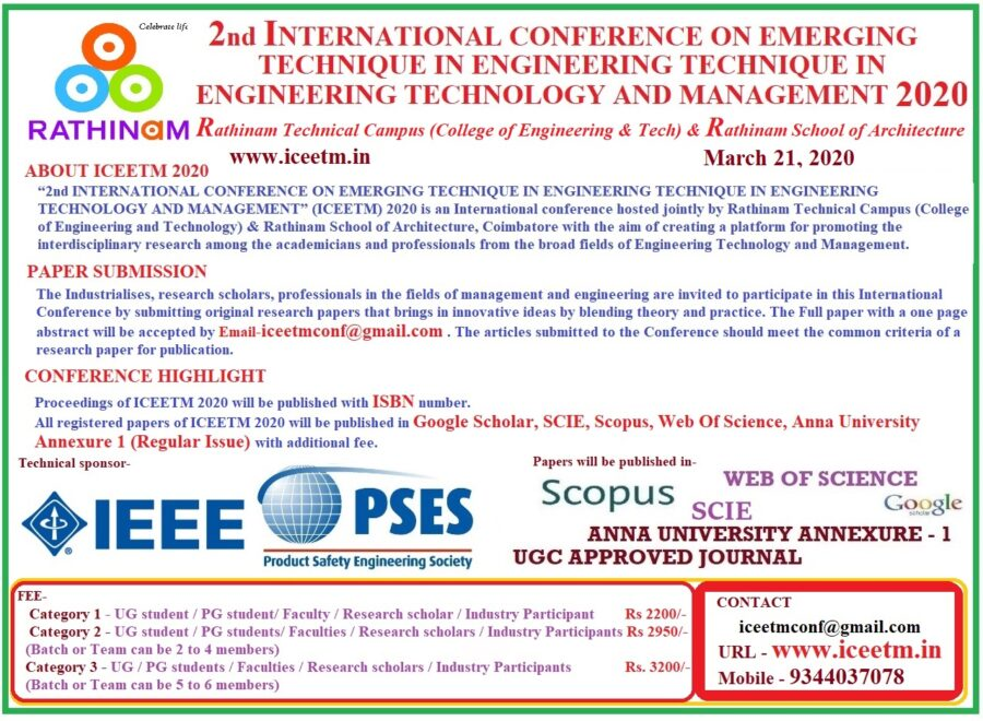 CfP: 2nd Int. Conference on Emerging Techniques in Engineering Technology and Management [March 21, Coimbatore]: Submit by March 19