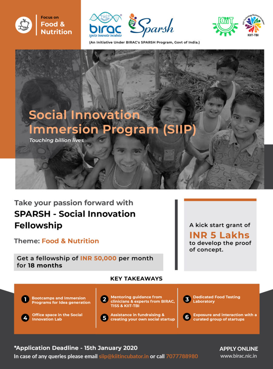 BIRAC Social Innovator Immersion Programme at KIIT Technology Business Incubator [18 Months, Stipend ₹50K]: Apply by Jan 15: Expired