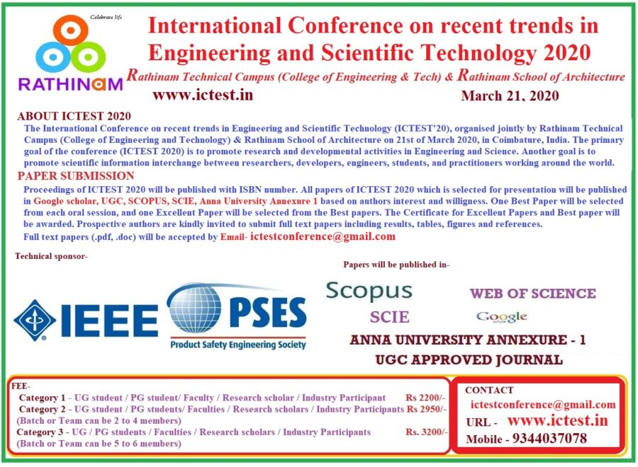 CfP: Conference on Trends in Engineering and Scientific Technology at Rathinam Technical Campus, Coimbatore [March 21]: Submit by March 18: Expired