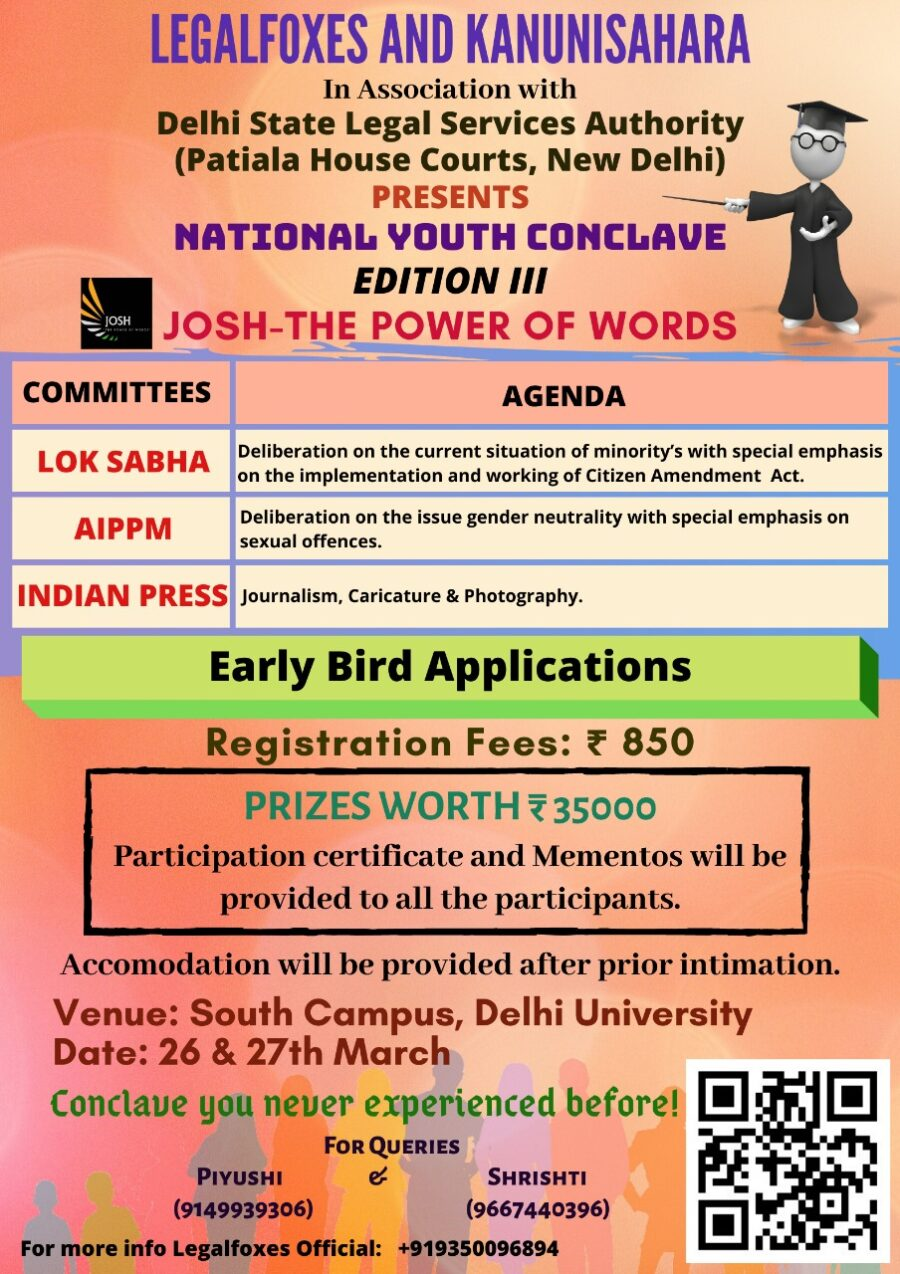 Josh: The Power of Words Youth Conclave by Legal Foxes and Kanuni Sahara in Association with DSLSA [March 26-27, Delhi]: Registrations Open