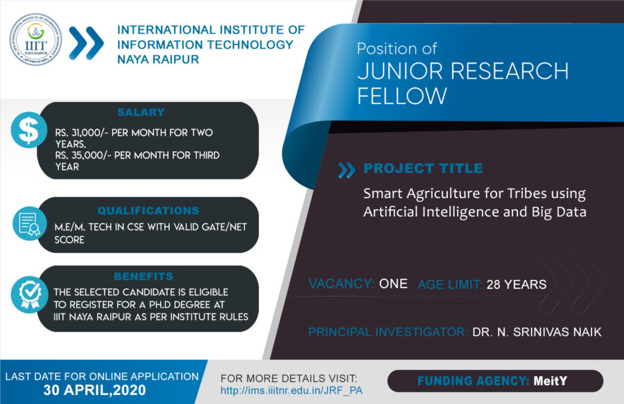 JOB POST: Junior Research Fellow at IIIT Naya Raipur [With PhD Registration]: Apply by April 30