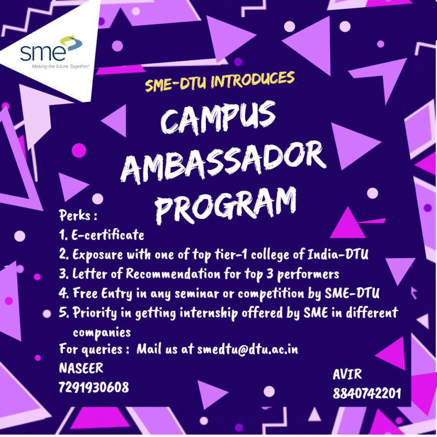 Campus Ambassador Program at Society of Manufacturing Engineers, Delhi Technological University: Applications Open