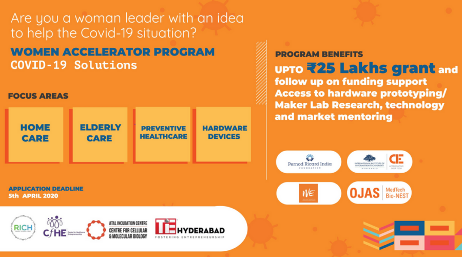 COVID19 Solutions: Women Accelerator Program by IIIT Hyderabad [Grants Upto Rs. 25L]: Applications Open