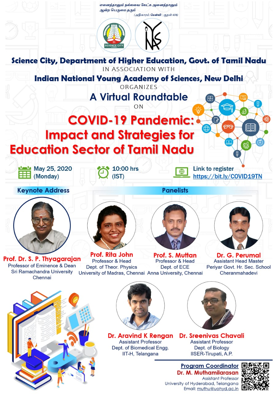 Virtual Round Table on COVID-19 Pandemic: Impact and Strategies for Education Sector [May 25, Zoom]: Registrations Open