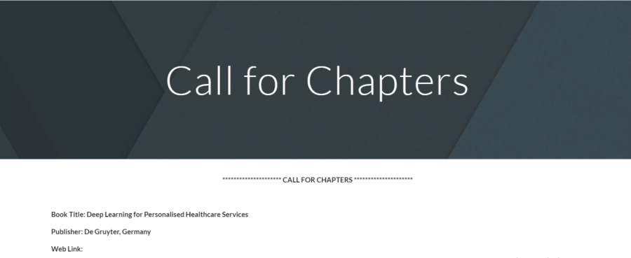 Call for book chapters for Healthcare services