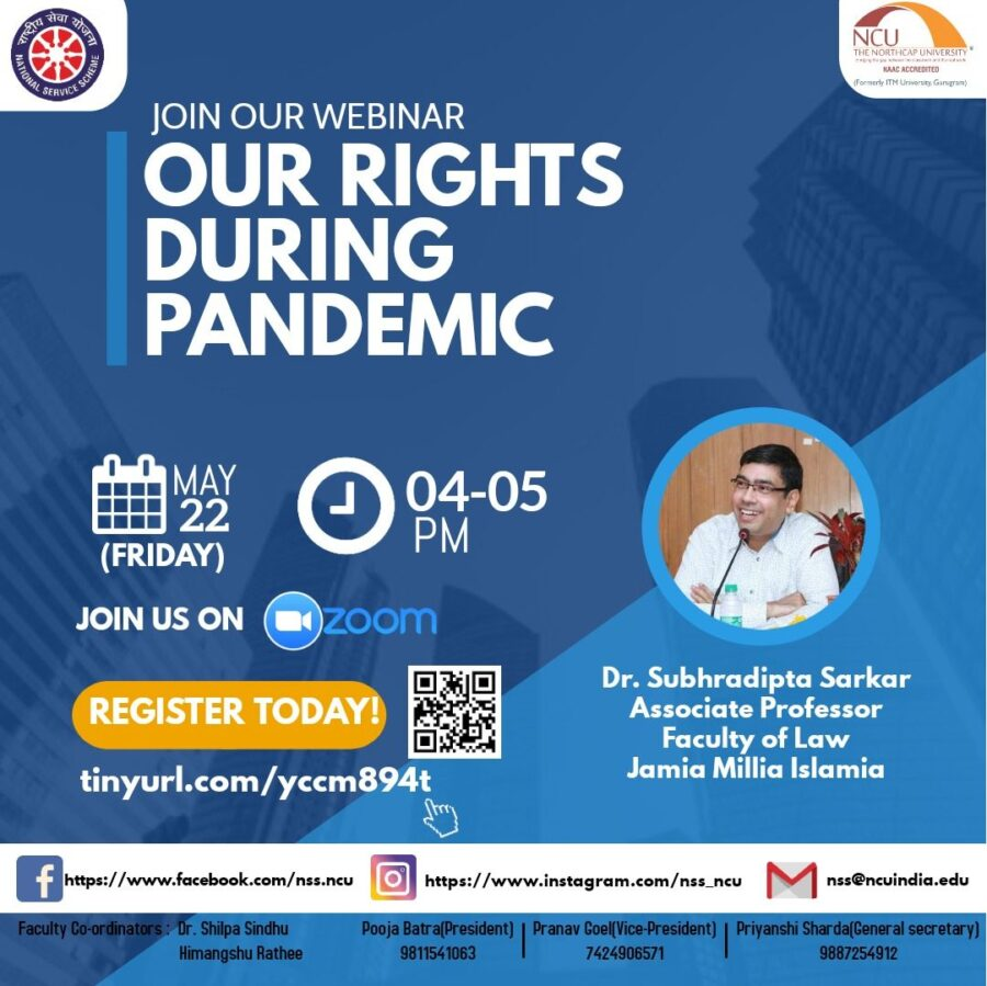 Webinar on Our Rights During Pandemic by NorthCap University [May 22, 4:00 PM]: Registration Open