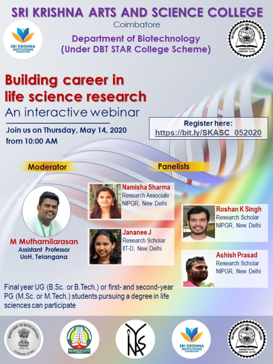 Webinar on Building Career in Life Science Research [May 14, 10 AM]: Registrations Open