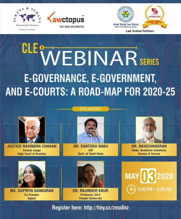 Free Webinar on E-Governance and E-Courts [May 3, Sunday, 5-6.30 PM]: Register Now