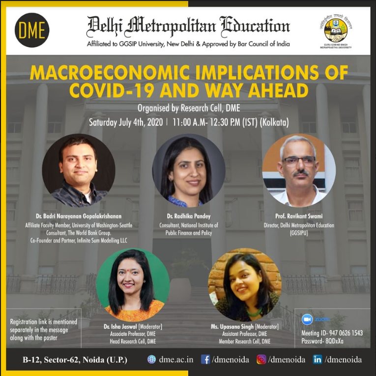 Online Panel Discussion on Macroeconomic implications of COVID- 19 by DME, Noida [July 4]: Registrations Open