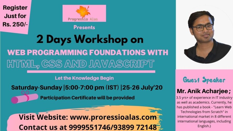 Online Workshop on Web Programming Foundation with HTML, CSS & Javascript by Progressio Alas [July 25-26]: Registration Open