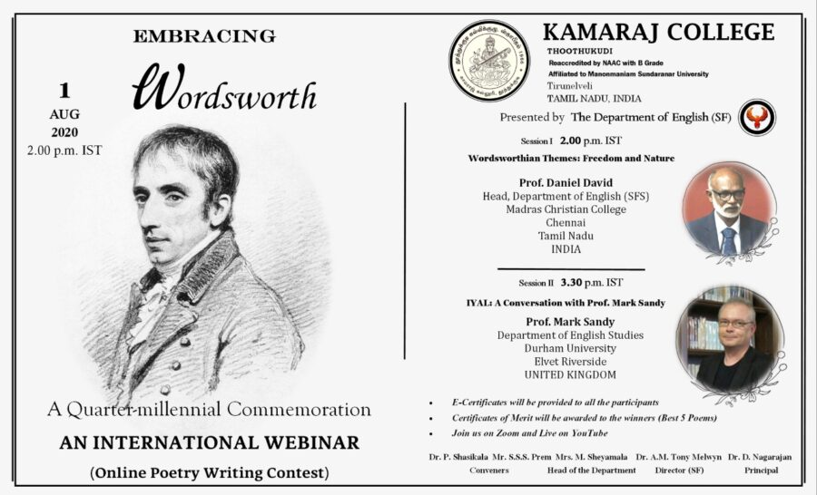 "Webinar on Poetry Contest on ""Embracing Wordsworth"