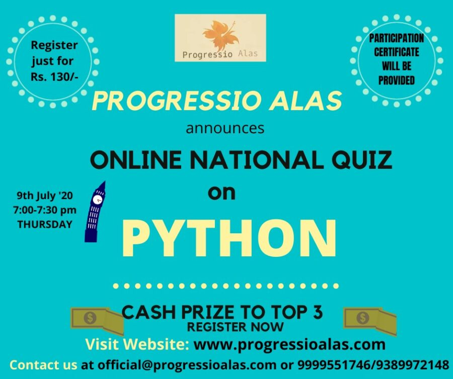 Online National Quiz on Python by Progressio Alas [July 9, 7:00 PM, Cash Prizes Available]: Registration Open