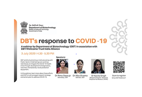 Webinar on DBT's Response to COVID-19 [July 3, 4:30 PM]: Registrations Open