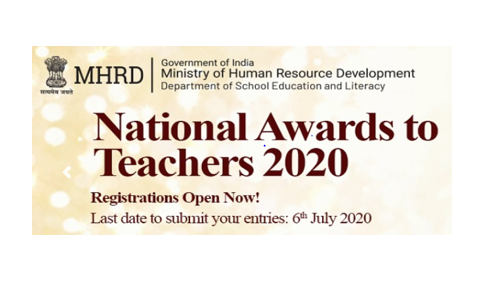 National Awards to Teachers 2020 by Ministry of Human Resource Development: Apply by July 6