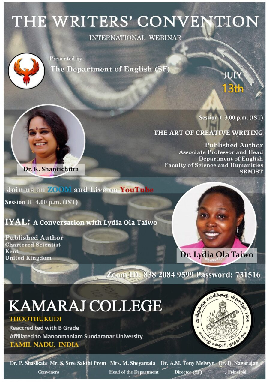 The Writers' Convention: International Webinar by Department of English (SF), Kamaraj College [July 13, 3PM]: Register Now!: Expired