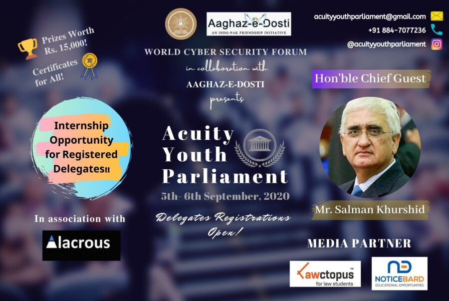 World Cyber Security Forum's Online Acuity Youth Parliament 2020 [Prizes Worth Rs. 15k + Trophy, Internship Opportunity Available]: Register by Sep 3