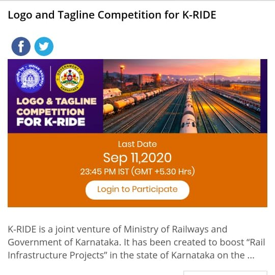 Logo and Tagline Competition for K-RIDE by Ministry of Railways [Cash Prizes Rs. 50k]: Register by Sep 11
